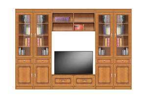 Wall entertainment unit in wood