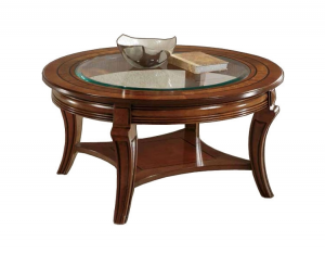 Rounded coffee table with glass top