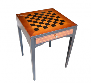 Two tone chess board table in wood