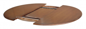 Inlaid dining table, oval shape in wood, 160-210 cm