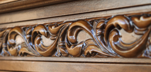 Living room cupboard with carved decoration