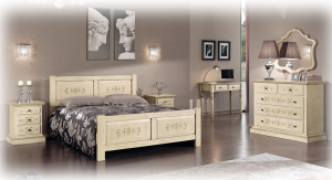 Solid wood bed with handmade decorations