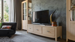 3 drawer entertainment unit in wood