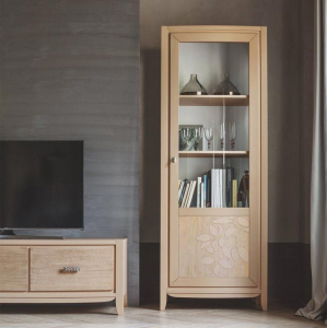 Lime wood display cabinet for living room