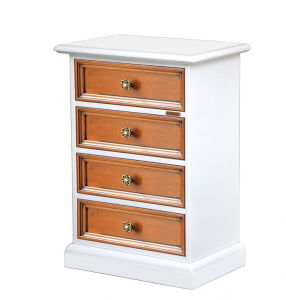 Two tone nightstand in wood 4 drawers 'Springville'