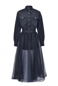 SHOPPING ON LINE PINKO ABITO DUE PEZZI IN DENIM CON GONNA IN TULLE LOLLY NEW COLLECTION WOMEN'S FALL WINTER 2020/21