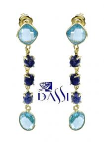 Orecchini pendenti in argento 925 dorato con topazi azzurri e ioliti.