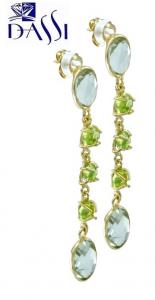 Orecchini pendenti in argento 925 dorato con prasioliti (quarzi) e peridoto verde