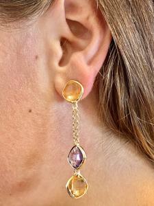 Orecchini pendenti in argento 925 dorato con quarzi citrino e  ametista