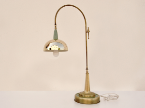 Lampada vintage ad arco in ottone