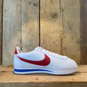 Scarpa Nike Classic Cortez Leather Bianca Rossa e Blu