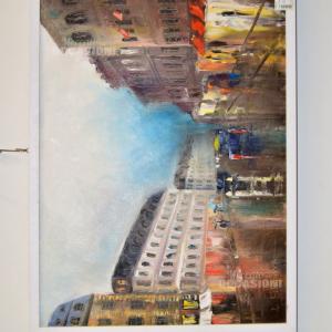 Quadro Dipinto Filipava Strada Con Palazzi 53x73cm Cornice Bianca