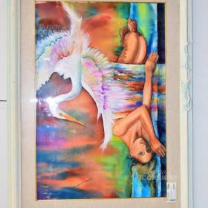 Quadro Acquerello Donna E Cicogna 71x95cm