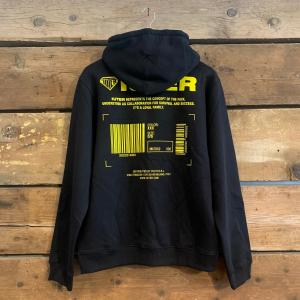 Felpa Iuter Info Hoodie con Cappuccio Nera con Big Logo sul Retro in Giallo