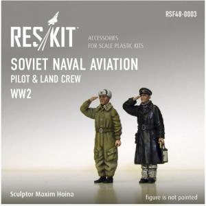 Soviet Naval Aviation pilot & land crew (WW2)