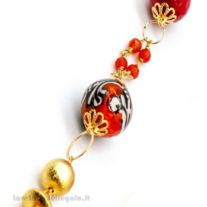 Bracciale con pietre dure di corniola e ceramica di Caltagirone - Gioielli Siciliani