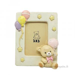 Portafoto con orsetto Rosa in resina 8.5x11 cm - Bomboniera battesimo bimba
