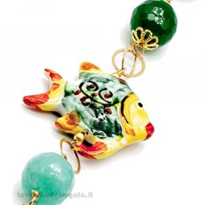 Bracciale con agata verde e pesce in ceramica di Caltagirone - Gioielli Siciliani