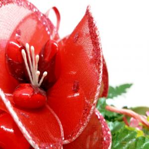 Decorazione rossa natalizia Fiori di confetti Sulmona 27x18x9 cm Handmade - Italy