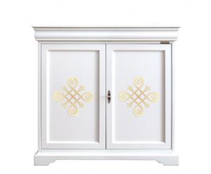 Aparador laqueado estilo Luis Felipe 2 puertas y pequeño cajón