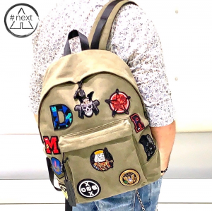 Minoronzoni 1953 - Zaino in canvas con patch applicate - Denim Army