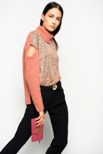 SHOPPING ON LINE PINKO PULLOVER COSTA INGLESE CON PAILLETTES BLIZZARD NEW COLLECTION WOMEN'S FALL WINTER 2020/2021