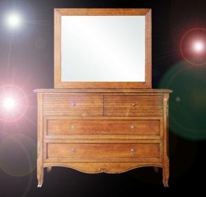 Commode en bois massif avec miroir