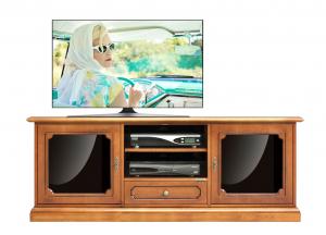 Meuble Tv bas classique avec portes vitrées