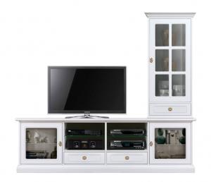 Wohnwand mit TV-Möbel und Hängevitrine