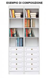 Bibliothèque étroite niches et tiroirs