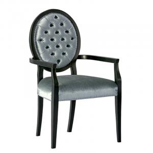 Chaise médaillon capitonné avec accoudoirs