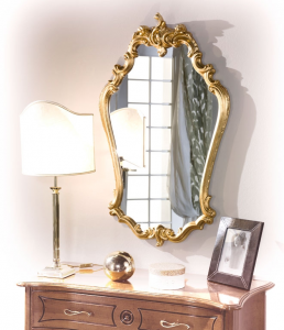 Miroir galbé style classique en feuille d'or
