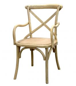 Armlehnstuhl mit Strohsitz aus Holz Cross