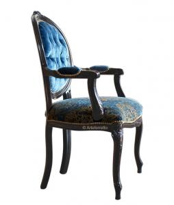 Sessel schwarz Rücklehne Oval Dark Blue