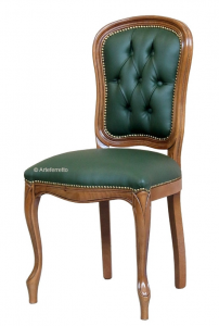 Chaise classique Up bois et tissu capitonné