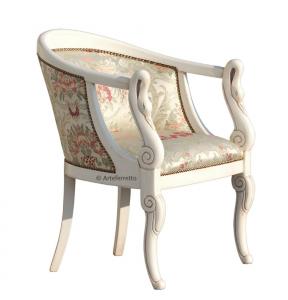 Kleiner Sessel Weiß patiniert Schwan
