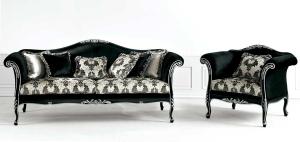 Canapé élégant noir et argent 220 cm