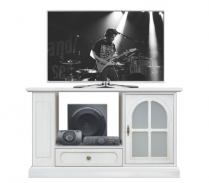 Meuble TV avec étagères et rayonnage latéral