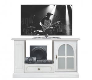 TV-Rack Weiß mit Glastür MainMax Ice