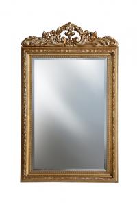 Miroir à fronton finition feuille d'or