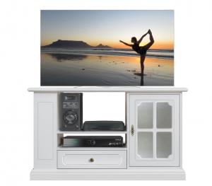 Meuble TV laqué blanc porte vitrée