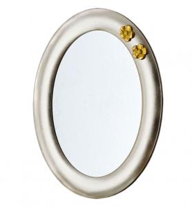 Ovaler Spiegel mit golden Blumen Two flowers