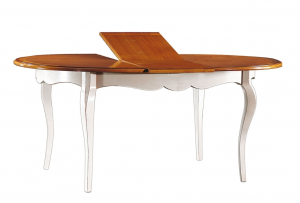 Tisch oval ausziehbar zweifarbig