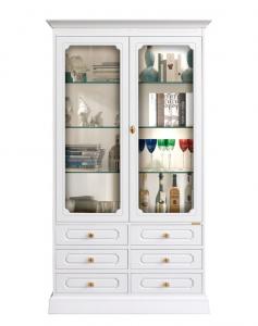 Glasvitrine Weiß mit Türen und Schubladen