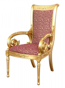 Chaise or avec accoudoirs scupltés