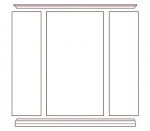 Wohnwand mit Türen und Einlegeböden