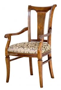 Chaise bout de table stylisée en bois massif