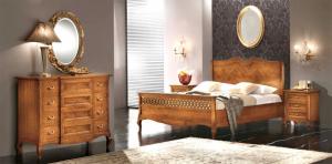 Bett doppel mit Intarsie