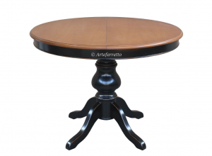 Table bicolore avec allonge - diamètre 110 cm