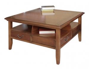 Table de salon carrée 4 tiroirs
